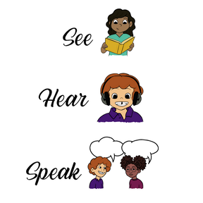 logo for See, Hear, Speak podcast showing a child reading, a child listening to headphones, and two people talking via speech bubbles